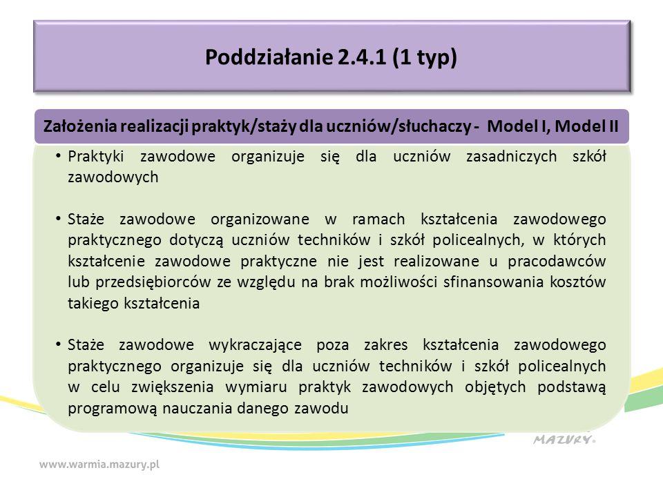 Poddziałanie 2.4.1 (1 typ) Praktyki zawodowe organizuje się dla uczniów zasadniczych szkół zawodowych Staże zawodowe organizowane w ramach kształcenia