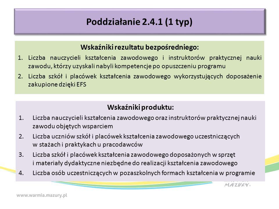Poddziałanie 2.4.1 (1 typ) Wskaźniki produktu: 1.Liczba nauczycieli kształcenia zawodowego oraz instruktorów praktycznej nauki zawodu objętych wsparci