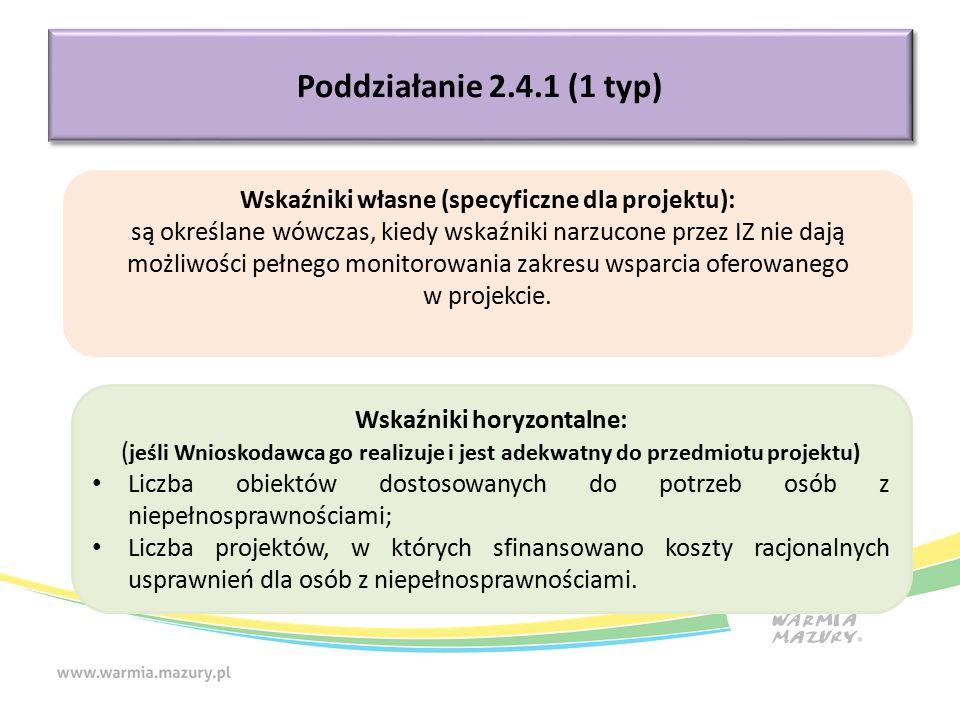 Poddziałanie 2.4.1 (1 typ) Wskaźniki własne (specyficzne dla projektu): są określane wówczas, kiedy wskaźniki narzucone przez IZ nie dają możliwości pełnego monitorowania zakresu wsparcia oferowanego w projekcie.