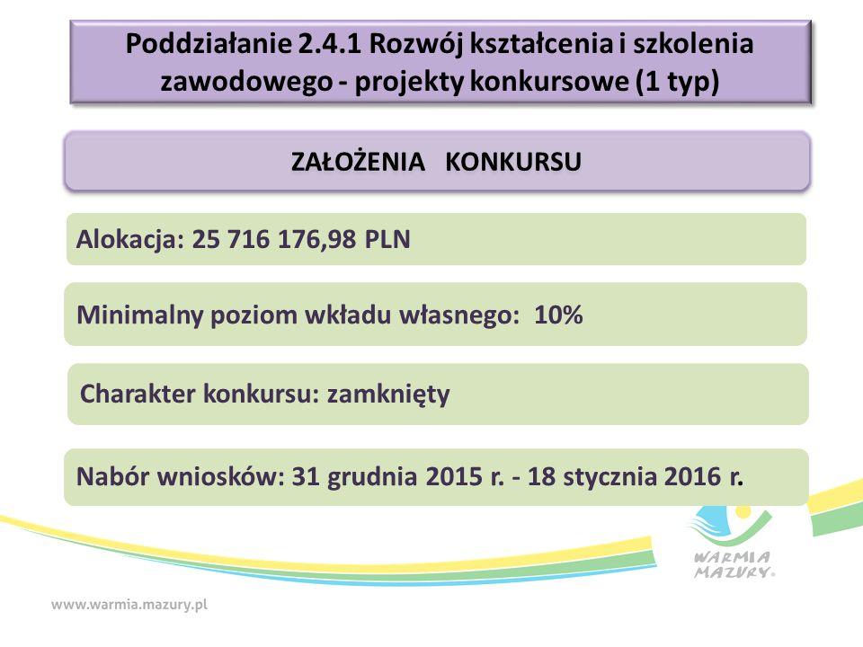 Poddziałanie 2.4.1 Rozwój kształcenia i szkolenia zawodowego - projekty konkursowe (1 typ) ZAŁOŻENIA KONKURSU Alokacja: 25 716 176,98 PLN Charakter konkursu: zamknięty Nabór wniosków: 31 grudnia 2015 r.