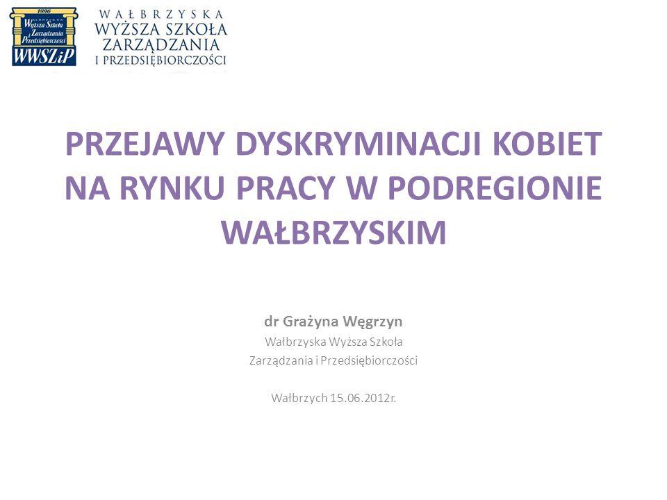 PRZEJAWY DYSKRYMINACJI KOBIET NA RYNKU PRACY W PODREGIONIE WAŁBRZYSKIM dr Grażyna Węgrzyn Wałbrzyska Wyższa Szkoła Zarządzania i Przedsiębiorczości Wałbrzych 15.06.2012r.