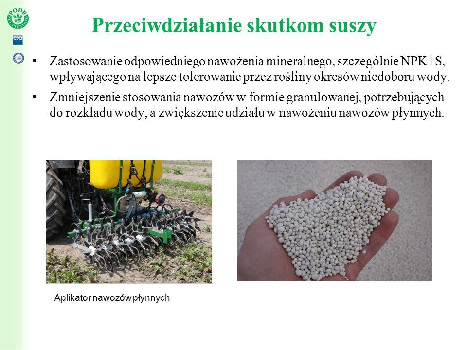 Przeciwdziałanie skutkom suszy Zastosowanie odpowiedniego nawożenia mineralnego, szczególnie NPK+S, wpływającego na lepsze tolerowanie przez rośliny okresów niedoboru wody.