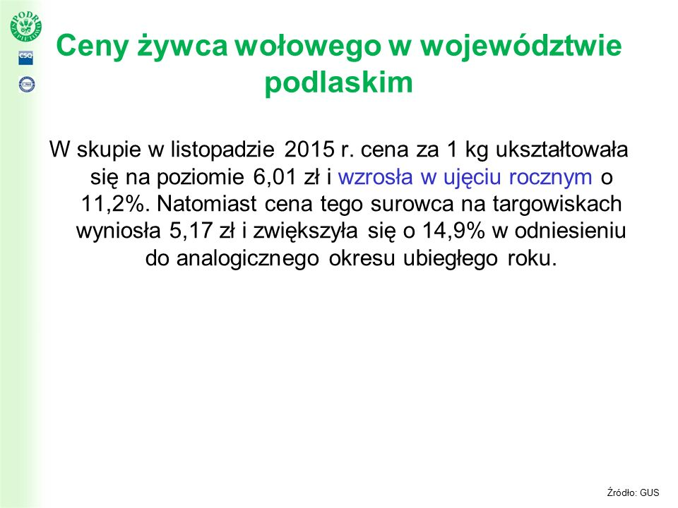 Ceny żywca wołowego w województwie podlaskim W skupie w listopadzie 2015 r.