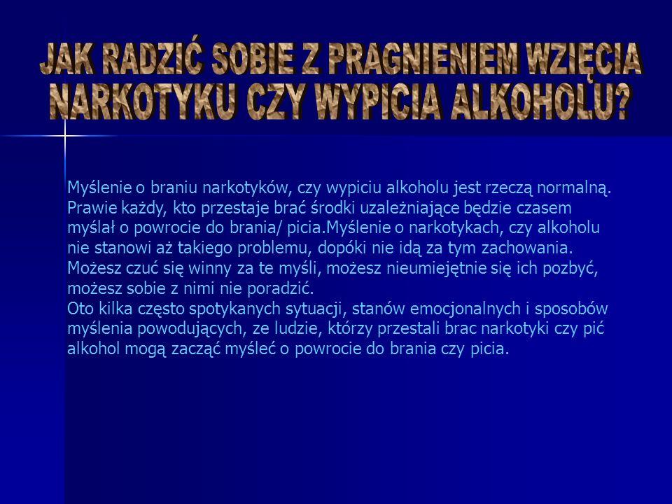 Myślenie o braniu narkotyków, czy wypiciu alkoholu jest rzeczą normalną.