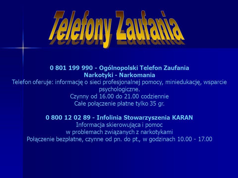 0 801 199 990 - Ogólnopolski Telefon Zaufania Narkotyki - Narkomania Telefon oferuje: informację o sieci profesjonalnej pomocy, miniedukację, wsparcie psychologiczne.