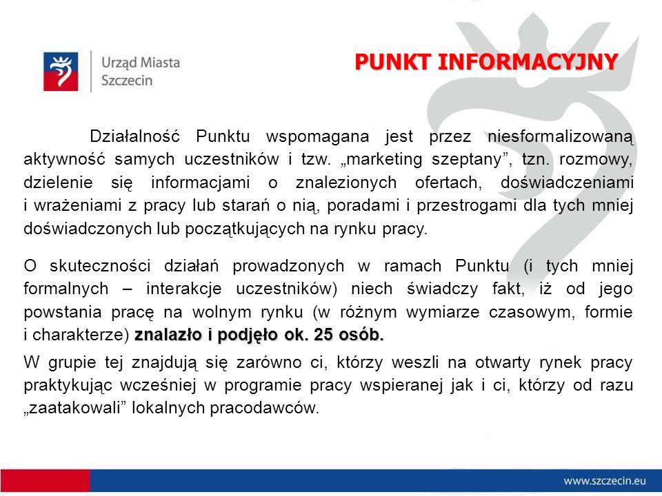 PUNKT INFORMACYJNY Działalność Punktu wspomagana jest przez niesformalizowaną aktywność samych uczestników i tzw.
