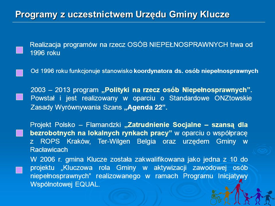 Programy z uczestnictwem Urzędu Gminy Klucze Realizacja programów na rzecz OSÓB NIEPEŁNOSPRAWNYCH trwa od 1996 roku Od 1996 roku funkcjonuje stanowisko koordynatora ds.