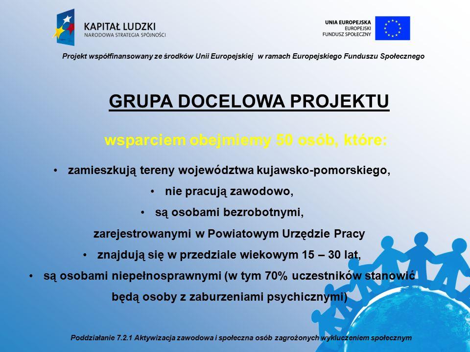 Projekt współfinansowany ze środków Unii Europejskiej w ramach Europejskiego Funduszu Społecznego Poddziałanie 7.2.1 Aktywizacja zawodowa i społeczna osób zagrożonych wykluczeniem społecznym GRUPA DOCELOWA PROJEKTU wsparciem obejmiemy 50 osób, które: zamieszkują tereny województwa kujawsko-pomorskiego, nie pracują zawodowo, są osobami bezrobotnymi, zarejestrowanymi w Powiatowym Urzędzie Pracy znajdują się w przedziale wiekowym 15 – 30 lat, są osobami niepełnosprawnymi (w tym 70% uczestników stanowić będą osoby z zaburzeniami psychicznymi)