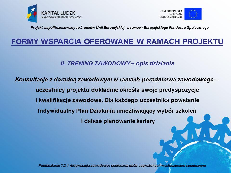 FORMY WSPARCIA OFEROWANE W RAMACH PROJEKTU II.