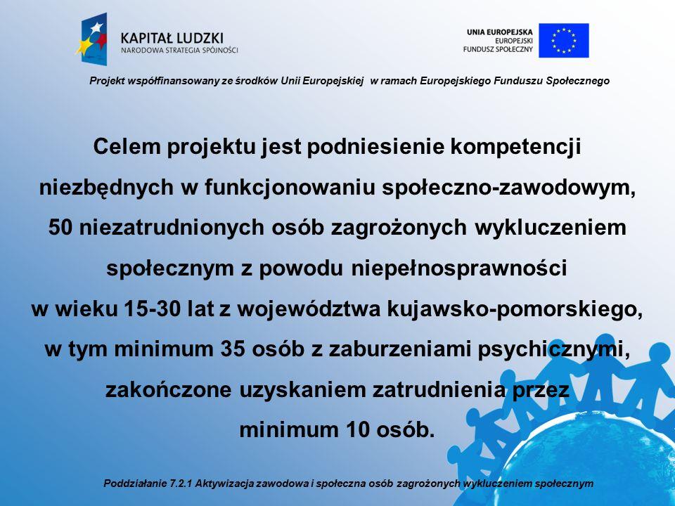 Celem projektu jest podniesienie kompetencji niezbędnych w funkcjonowaniu społeczno-zawodowym, 50 niezatrudnionych osób zagrożonych wykluczeniem społecznym z powodu niepełnosprawności w wieku 15-30 lat z województwa kujawsko-pomorskiego, w tym minimum 35 osób z zaburzeniami psychicznymi, zakończone uzyskaniem zatrudnienia przez minimum 10 osób.