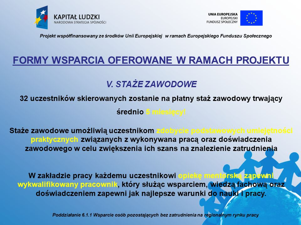Projekt współfinansowany ze środków Unii Europejskiej w ramach Europejskiego Funduszu Społecznego FORMY WSPARCIA OFEROWANE W RAMACH PROJEKTU V.