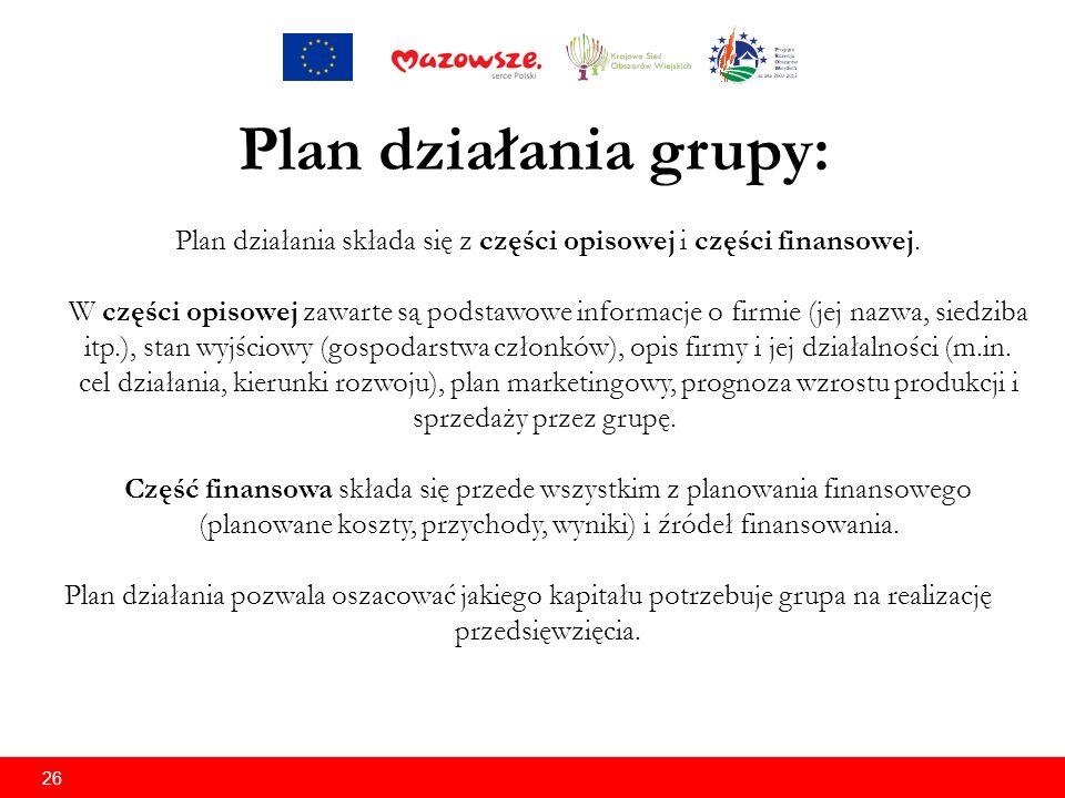 26 Plan działania grupy: Plan działania składa się z części opisowej i części finansowej.