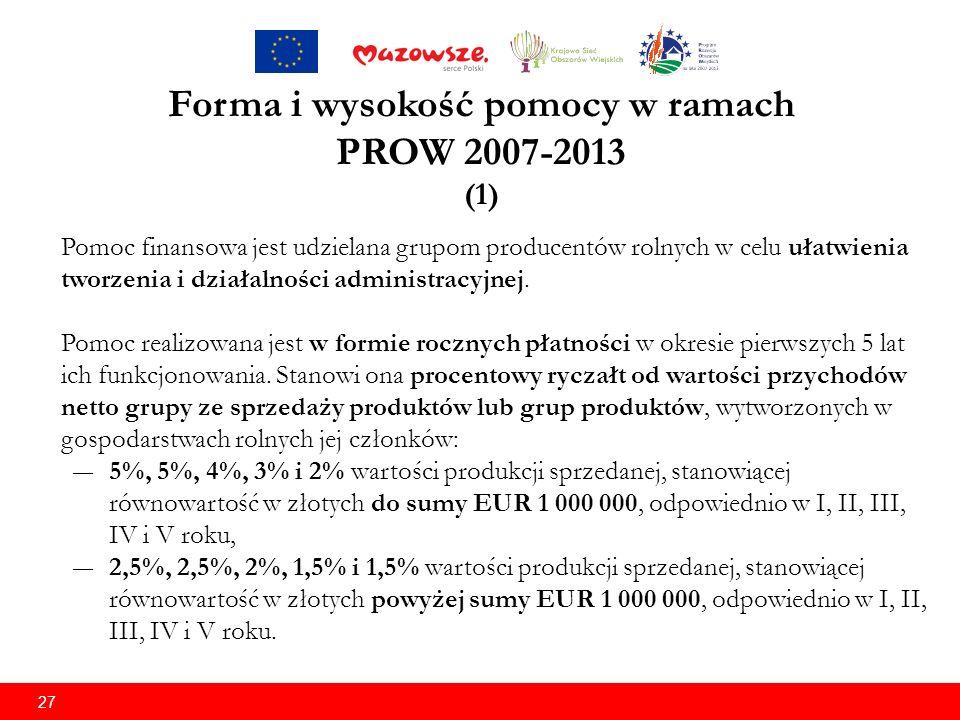 27 Forma i wysokość pomocy w ramach PROW 2007-2013 (1) Pomoc finansowa jest udzielana grupom producentów rolnych w celu ułatwienia tworzenia i działalności administracyjnej.