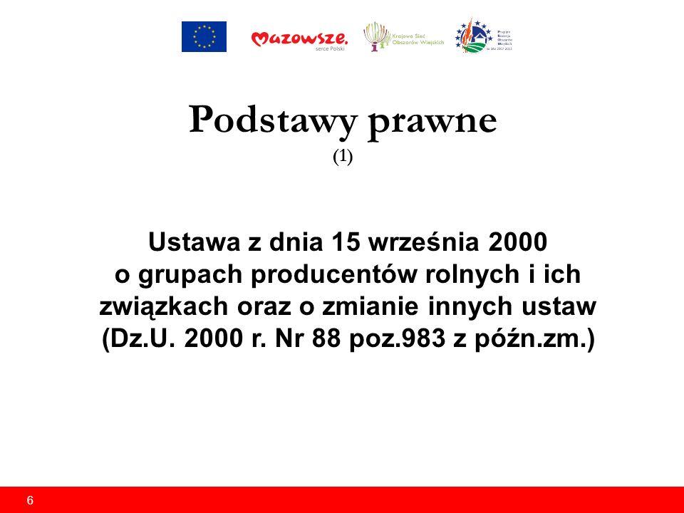 6 Ustawa z dnia 15 września 2000 o grupach producentów rolnych i ich związkach oraz o zmianie innych ustaw (Dz.U.