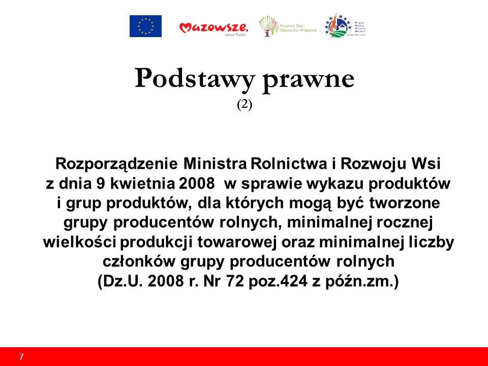 7 Rozporządzenie Ministra Rolnictwa i Rozwoju Wsi z dnia 9 kwietnia 2008 w sprawie wykazu produktów i grup produktów, dla których mogą być tworzone grupy producentów rolnych, minimalnej rocznej wielkości produkcji towarowej oraz minimalnej liczby członków grupy producentów rolnych (Dz.U.