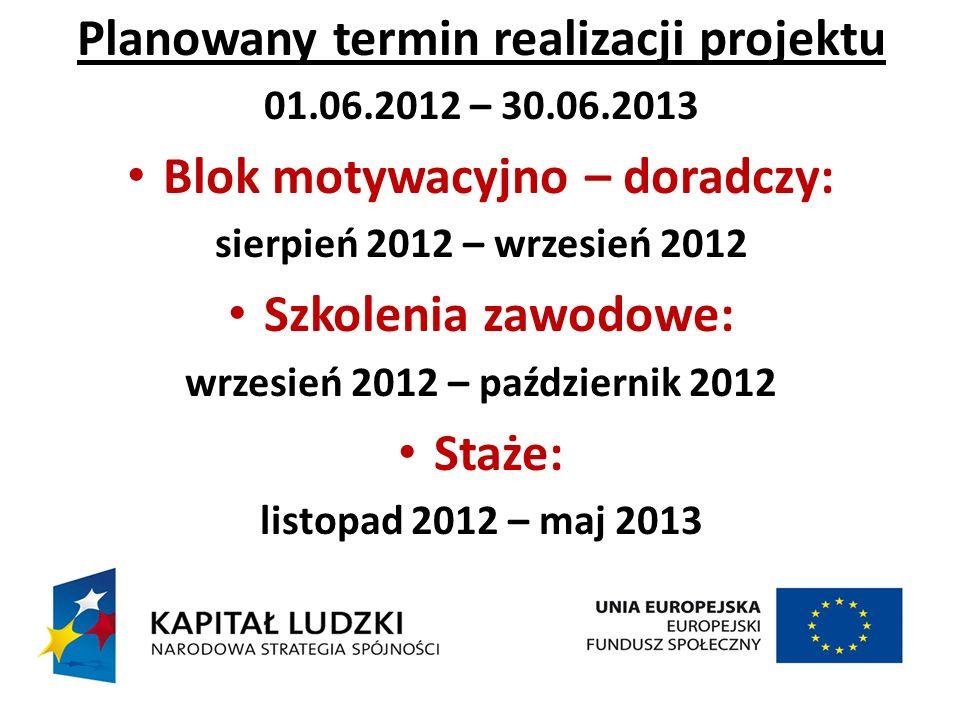 Planowany termin realizacji projektu 01.06.2012 – 30.06.2013 Blok motywacyjno – doradczy: sierpień 2012 – wrzesień 2012 Szkolenia zawodowe: wrzesień 2