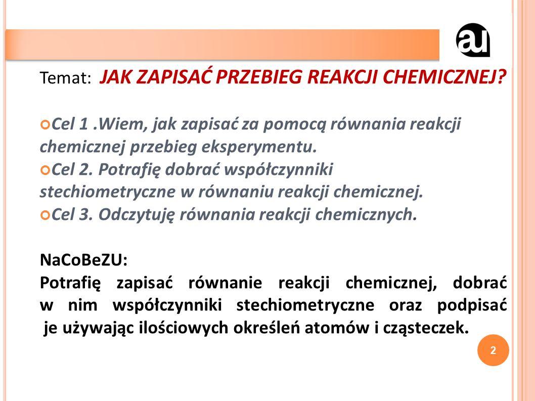 Temat: JAK ZAPISAĆ PRZEBIEG REAKCJI CHEMICZNEJ.