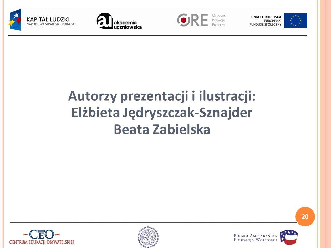 Autorzy prezentacji i ilustracji: Elżbieta Jędryszczak-Sznajder Beata Zabielska 20