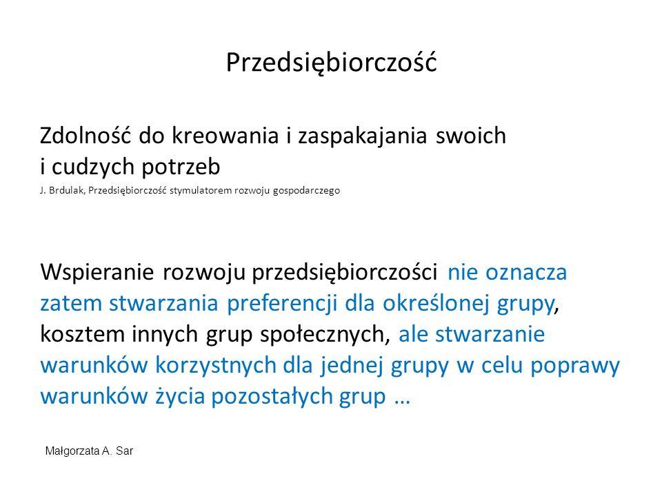 Przedsiębiorczość Zdolność do kreowania i zaspakajania swoich i cudzych potrzeb J. Brdulak, Przedsiębiorczość stymulatorem rozwoju gospodarczego Wspie