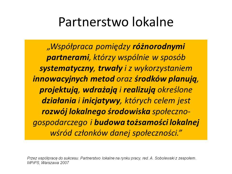 """Partnerstwo lokalne """"Współpraca pomiędzy różnorodnymi partnerami, którzy wspólnie w sposób systematyczny, trwały i z wykorzystaniem innowacyjnych meto"""