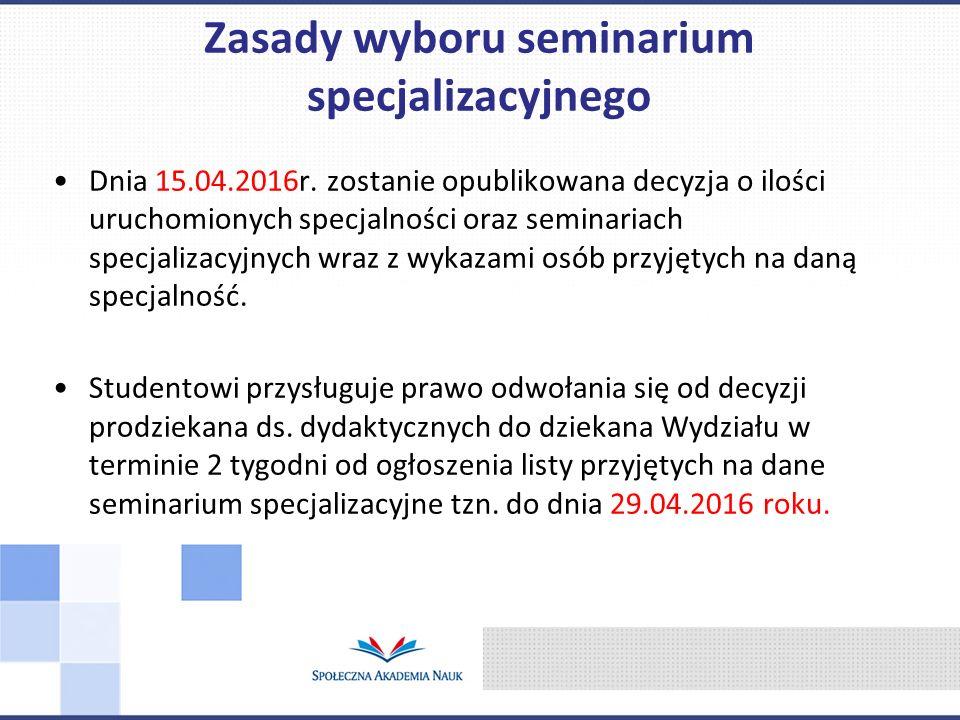 Dnia 15.04.2016r. zostanie opublikowana decyzja o ilości uruchomionych specjalności oraz seminariach specjalizacyjnych wraz z wykazami osób przyjętych