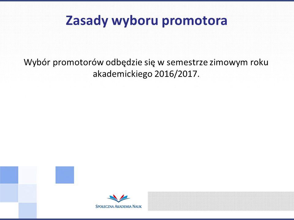 Wybór promotorów odbędzie się w semestrze zimowym roku akademickiego 2016/2017.