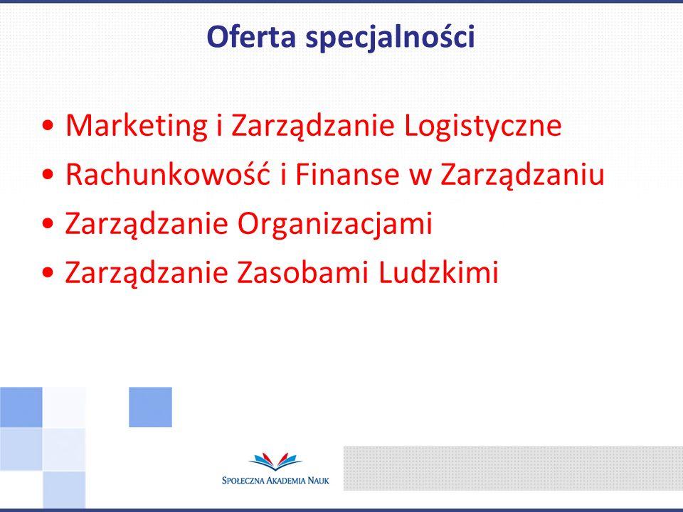 Marketing i Zarządzanie Logistyczne Rachunkowość i Finanse w Zarządzaniu Zarządzanie Organizacjami Zarządzanie Zasobami Ludzkimi Oferta specjalności