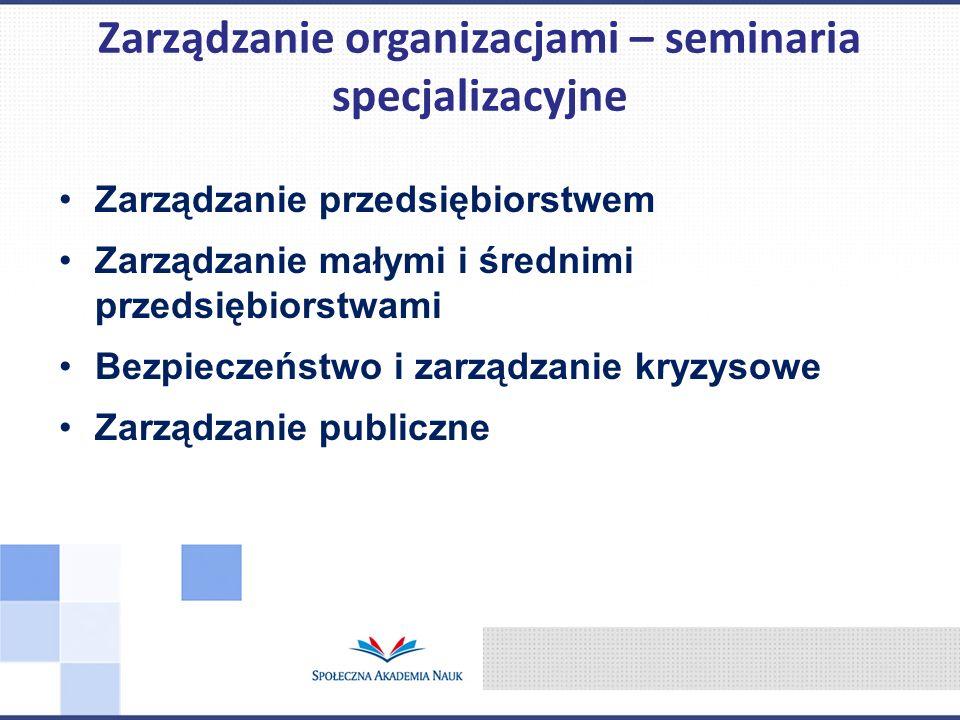 Zarządzanie przedsiębiorstwem Zarządzanie małymi i średnimi przedsiębiorstwami Bezpieczeństwo i zarządzanie kryzysowe Zarządzanie publiczne Zarządzanie organizacjami – seminaria specjalizacyjne