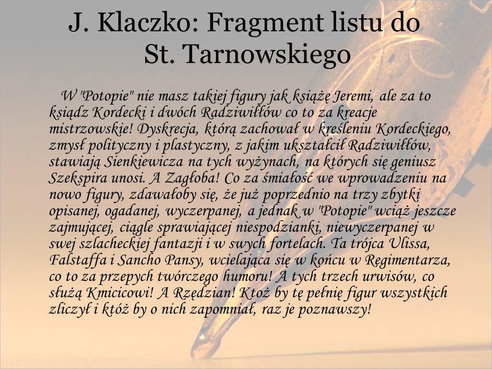J. Klaczko: Fragment listu do St. Tarnowskiego W