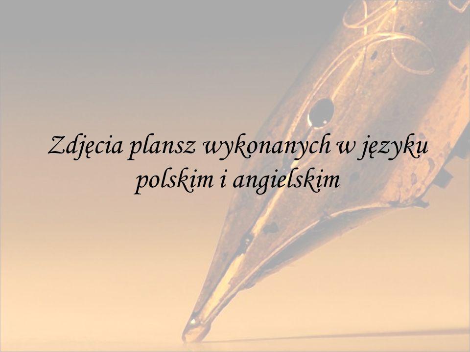 Zdjęcia plansz wykonanych w języku polskim i angielskim