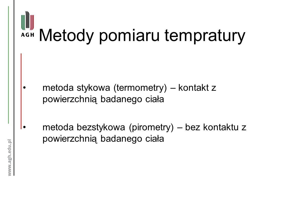 Metody pomiaru tempratury metoda stykowa (termometry) – kontakt z powierzchnią badanego ciała metoda bezstykowa (pirometry) – bez kontaktu z powierzchnią badanego ciała