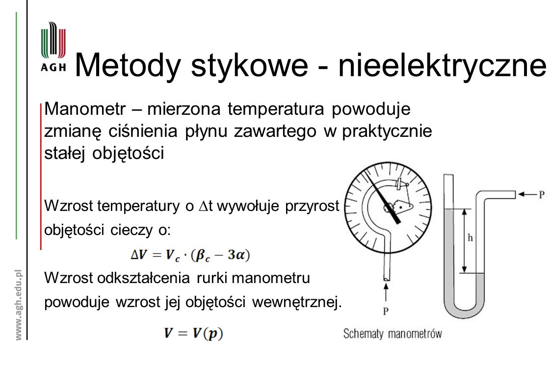 Metody stykowe - nieelektryczne Manometr – mierzona temperatura powoduje zmianę ciśnienia płynu zawartego w praktycznie stałej objętości Wzrost temperatury o ∆t wywołuje przyrost objętości cieczy o: Wzrost odkształcenia rurki manometru powoduje wzrost jej objętości wewnętrznej.