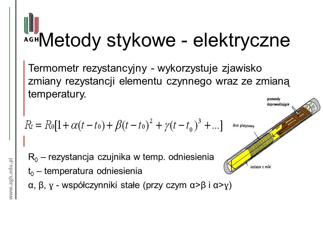 Metody stykowe - elektryczne Termometr rezystancyjny - wykorzystuje zjawisko zmiany rezystancji elementu czynnego wraz ze zmianą temperatury. R 0 – re