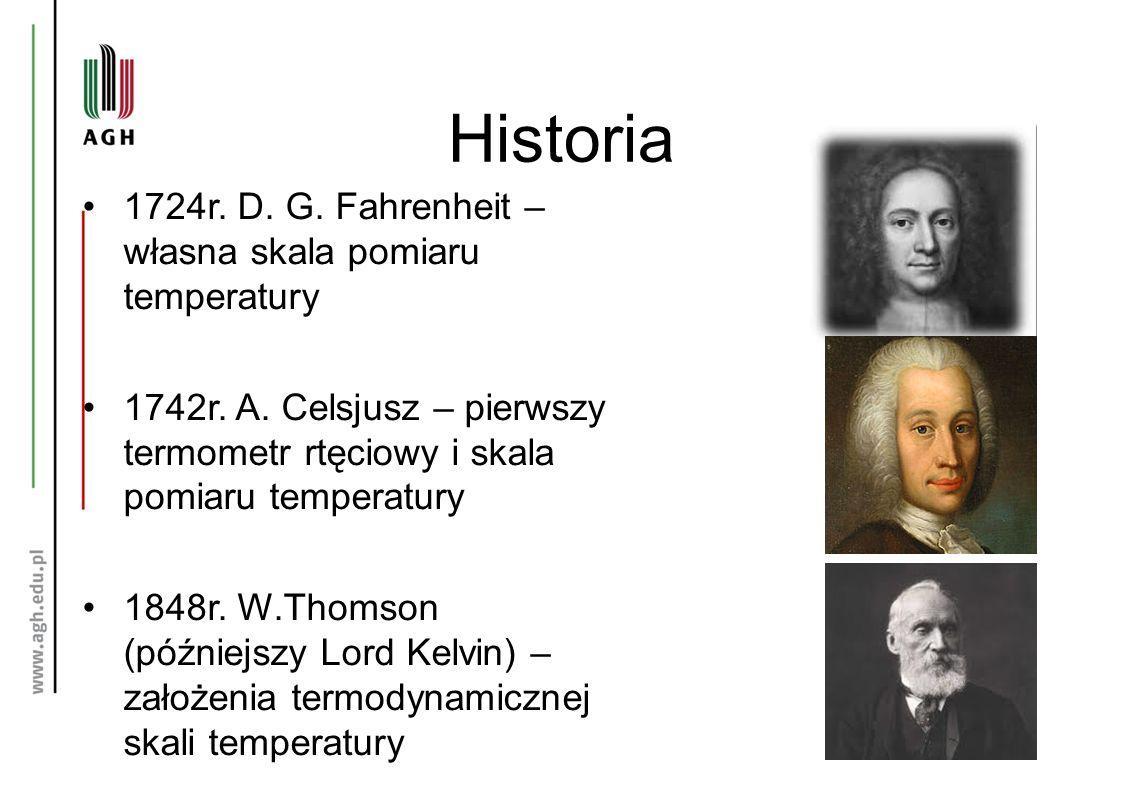 Historia 1724r. D. G. Fahrenheit – własna skala pomiaru temperatury 1742r. A. Celsjusz – pierwszy termometr rtęciowy i skala pomiaru temperatury 1848r