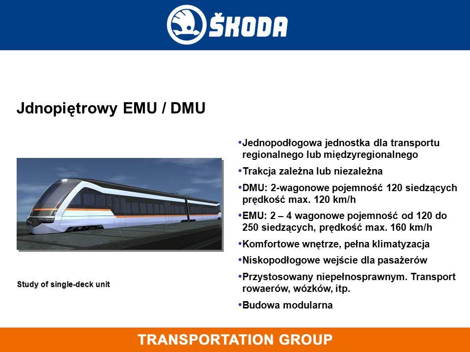 Jednopodłogowa jednostka dla transportu regionalnego lub międzyregionalnego Trakcja zależna lub niezależna DMU: 2-wagonowe pojemność 120 siedzących pr