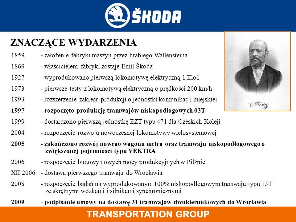 ZNACZĄCE WYDARZENIA 1859- założenie fabryki maszyn przez hrabiego Wallensteina 1869 - właścicielem fabryki zostaje Emil Škoda 1927 - wyprodukowano pie