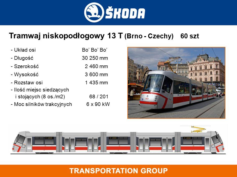 Tramwaj niskopodłogowy 13 T (Brno - Czechy) 60 szt - Układ osi Bo' Bo' Bo' - Długość 30 250 mm - Szerokość 2 460 mm - Wysokość 3 600 mm - Rozstaw osi