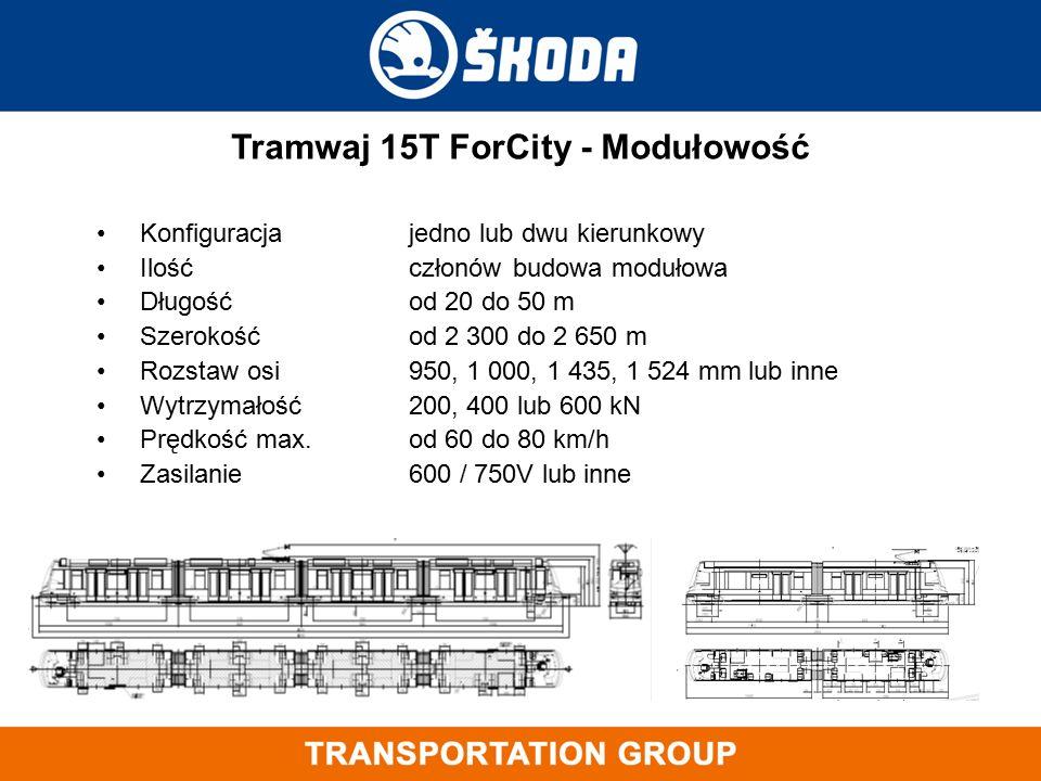 Konfiguracjajedno lub dwu kierunkowy Ilość członówbudowa modułowa Długośćod 20 do 50 m Szerokośćod 2 300 do 2 650 m Rozstaw osi950, 1 000, 1 435, 1 52