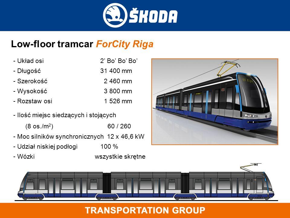 Low-floor tramcar ForCity Riga - Układ osi 2' Bo' Bo' Bo' - Długość 31 400 mm - Szerokość 2 460 mm - Wysokość 3 800 mm - Rozstaw osi 1 526 mm - Ilość