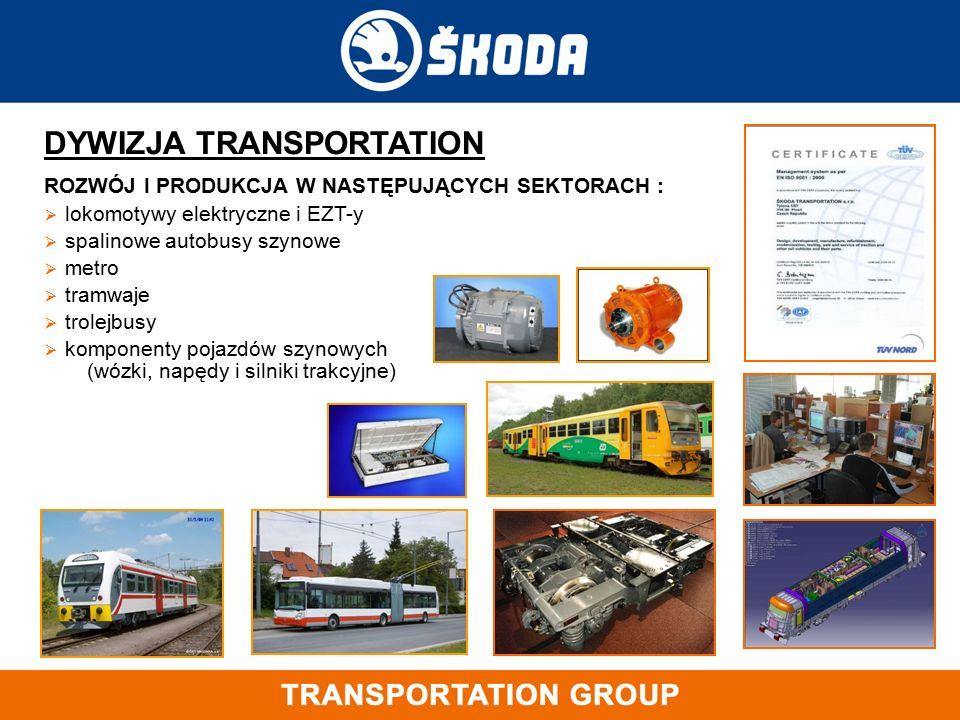 DYWIZJA TRANSPORTATION ROZWÓJ I PRODUKCJA W NASTĘPUJĄCYCH SEKTORACH :  lokomotywy elektryczne i EZT-y  spalinowe autobusy szynowe  metro  tramwaje