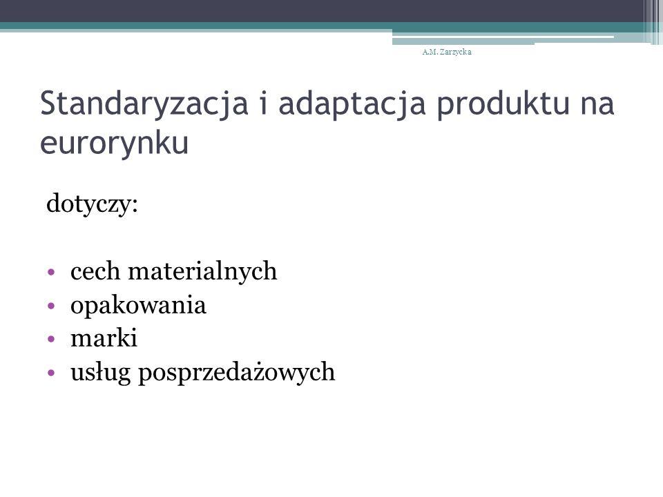 Standaryzacja i adaptacja produktu na eurorynku dotyczy: cech materialnych opakowania marki usług posprzedażowych A.M. Zarzycka