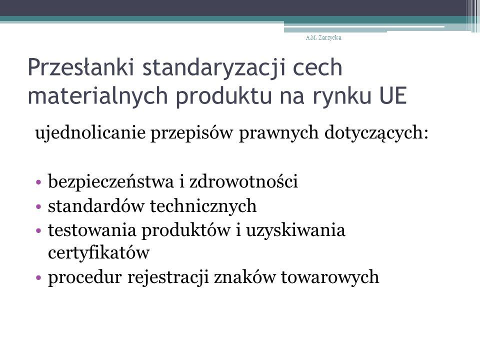 Przesłanki standaryzacji cech materialnych produktu na rynku UE ujednolicanie przepisów prawnych dotyczących: bezpieczeństwa i zdrowotności standardów