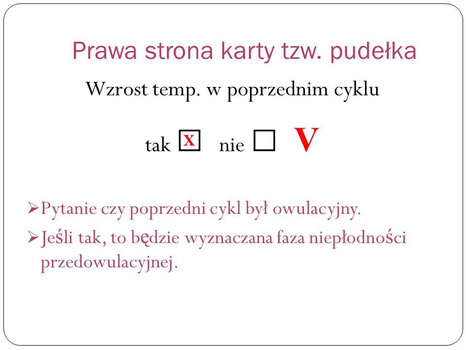 Prawa strona karty tzw.pudełka Wzrost temp.