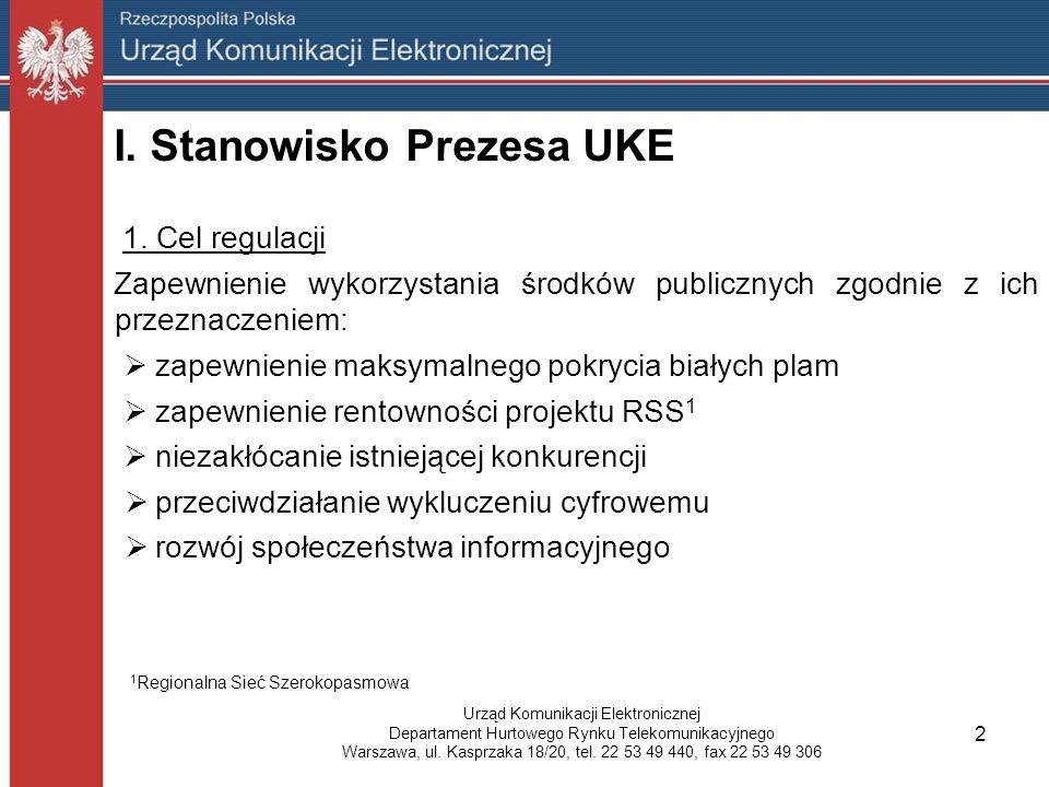 I. Stanowisko Prezesa UKE 1.