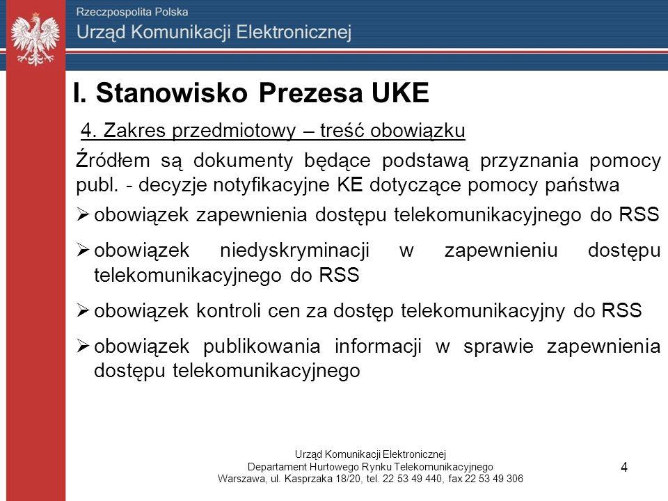 I. Stanowisko Prezesa UKE 4.