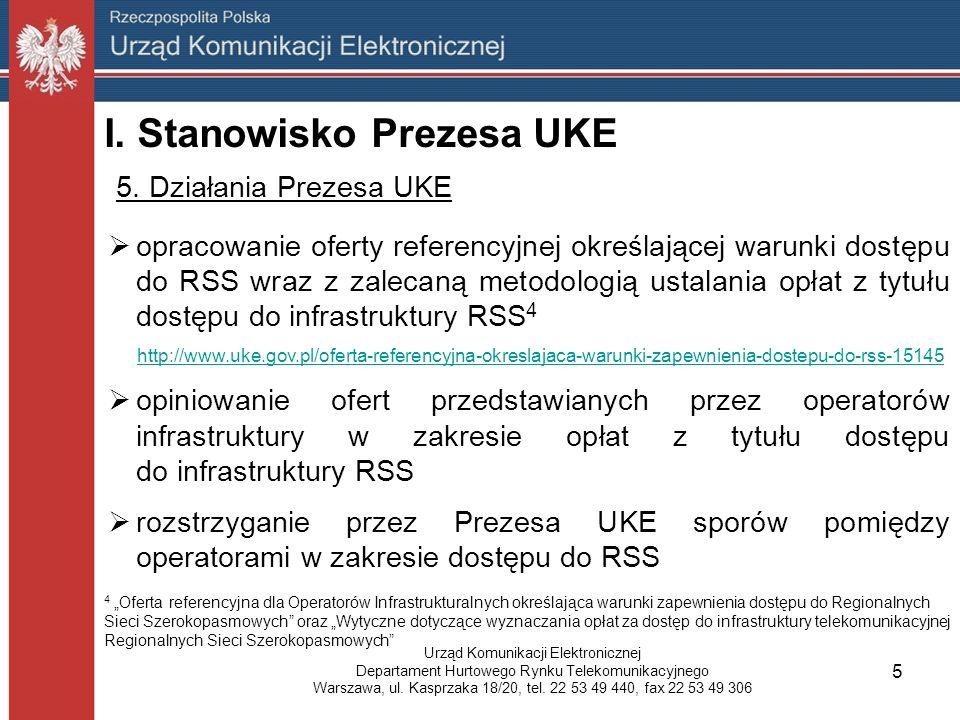 I. Stanowisko Prezesa UKE 5.