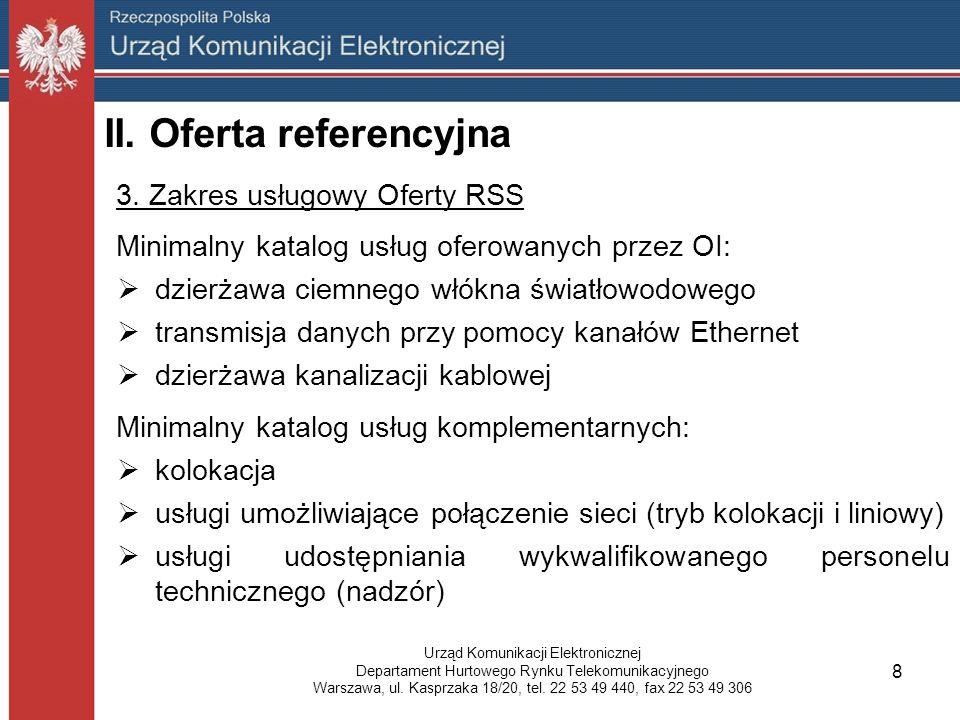 3. Zakres usługowy Oferty RSS Minimalny katalog usług oferowanych przez OI:  dzierżawa ciemnego włókna światłowodowego  transmisja danych przy pomoc