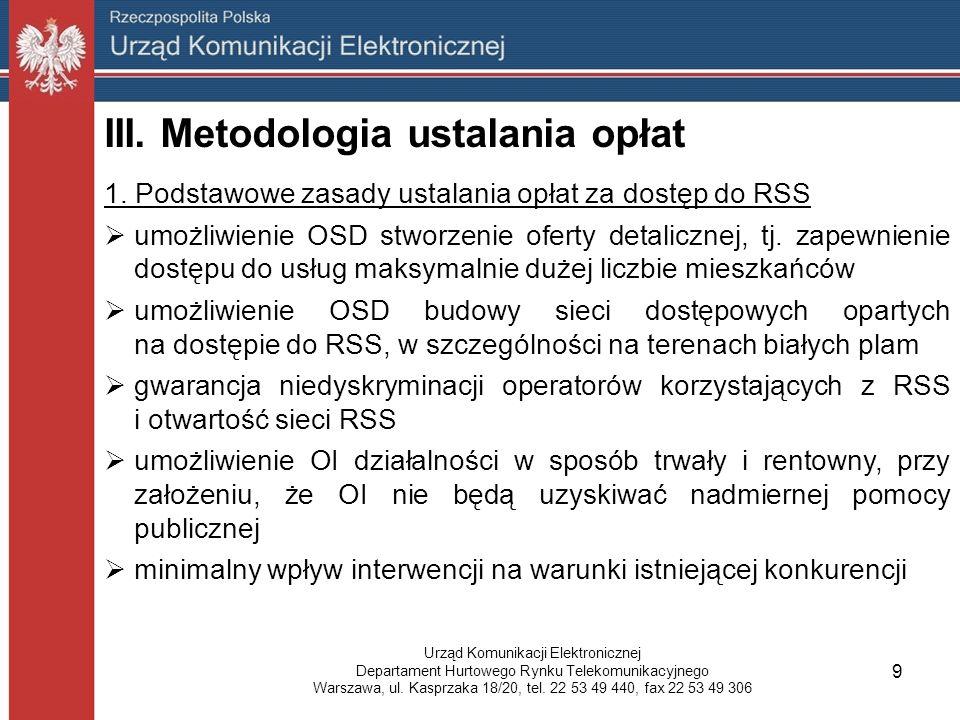 III. Metodologia ustalania opłat 1.