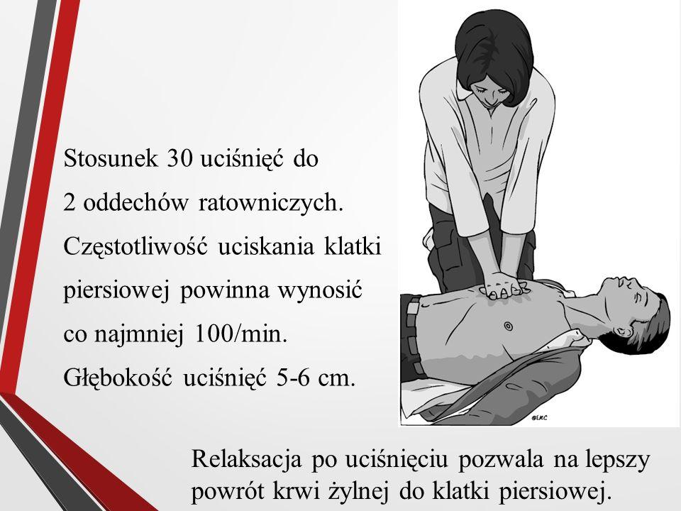 Stosunek 30 uciśnięć do 2 oddechów ratowniczych. Częstotliwość uciskania klatki piersiowej powinna wynosić co najmniej 100/min. Głębokość uciśnięć 5-6