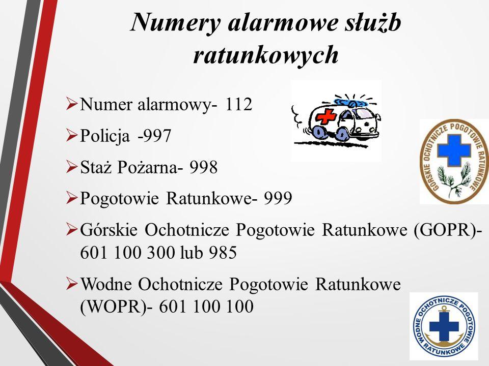Numery alarmowe służb ratunkowych  Numer alarmowy- 112  Policja -997  Staż Pożarna- 998  Pogotowie Ratunkowe- 999  Górskie Ochotnicze Pogotowie R